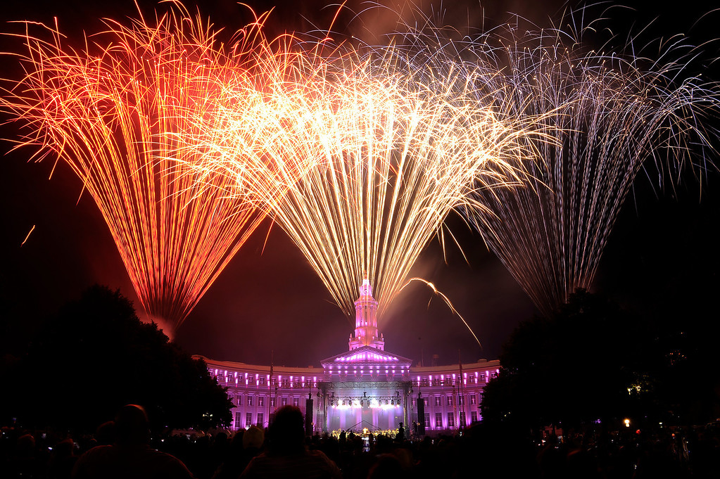 . DENVER, CO - JULY 3: Fireworks shoot off from the City and County Building at the city of Denver\'s annual fireworks show off in Civic Center on July 3, 2013, in Denver, Colorado. (Photo by Daniel Petty/The Denver Post)