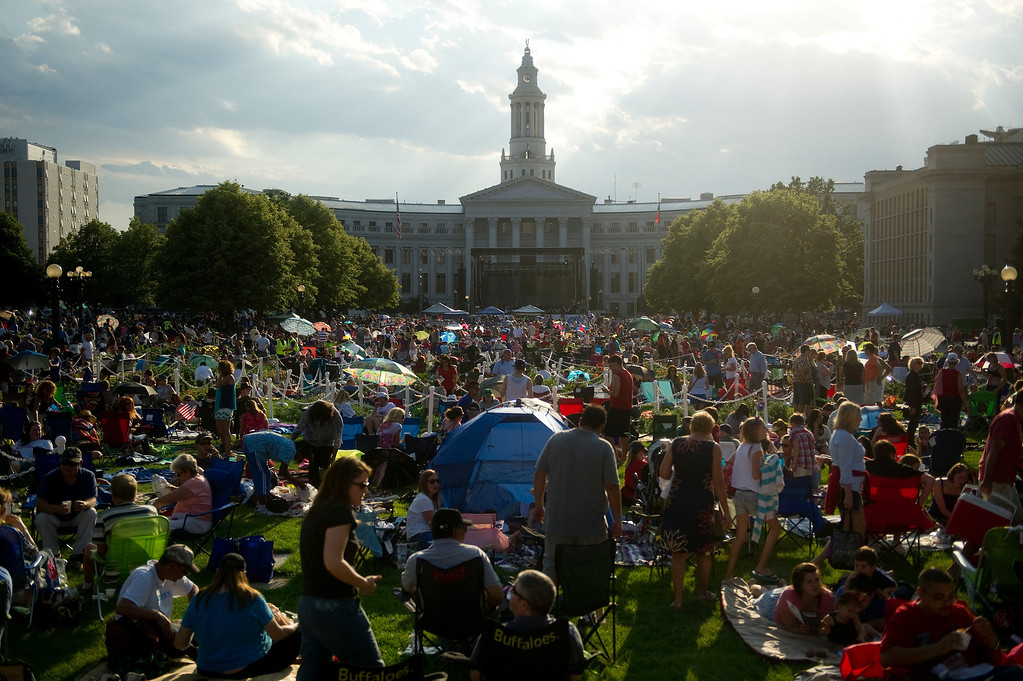 . DENVER - JULY 3: Spectators wait for fireworks and the Colorado Symphony at Civic Center Park in Denver on July 3, 2013. (Photo By Grant Hindsley/The Denver Post)