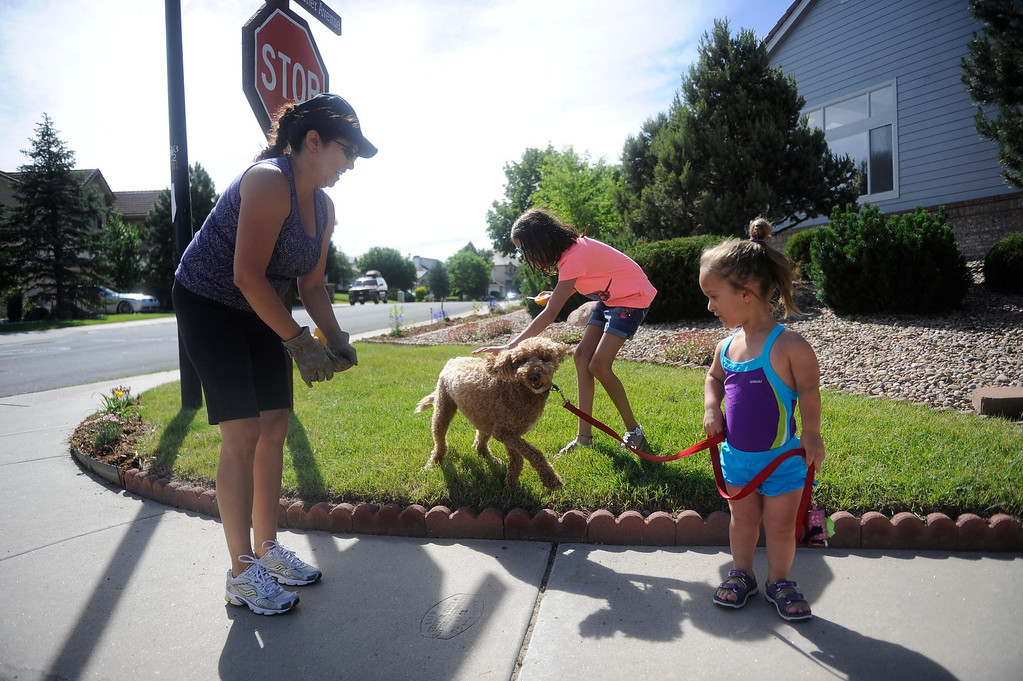 . GOLDEN, CO. - JUNE 25: Mia Towl, 9, greets her neighbors while taking her dog, Kona, on a run around the neighborhood on June 25, 2013.  (Photo By Grant Hindsley/The Denver Post)