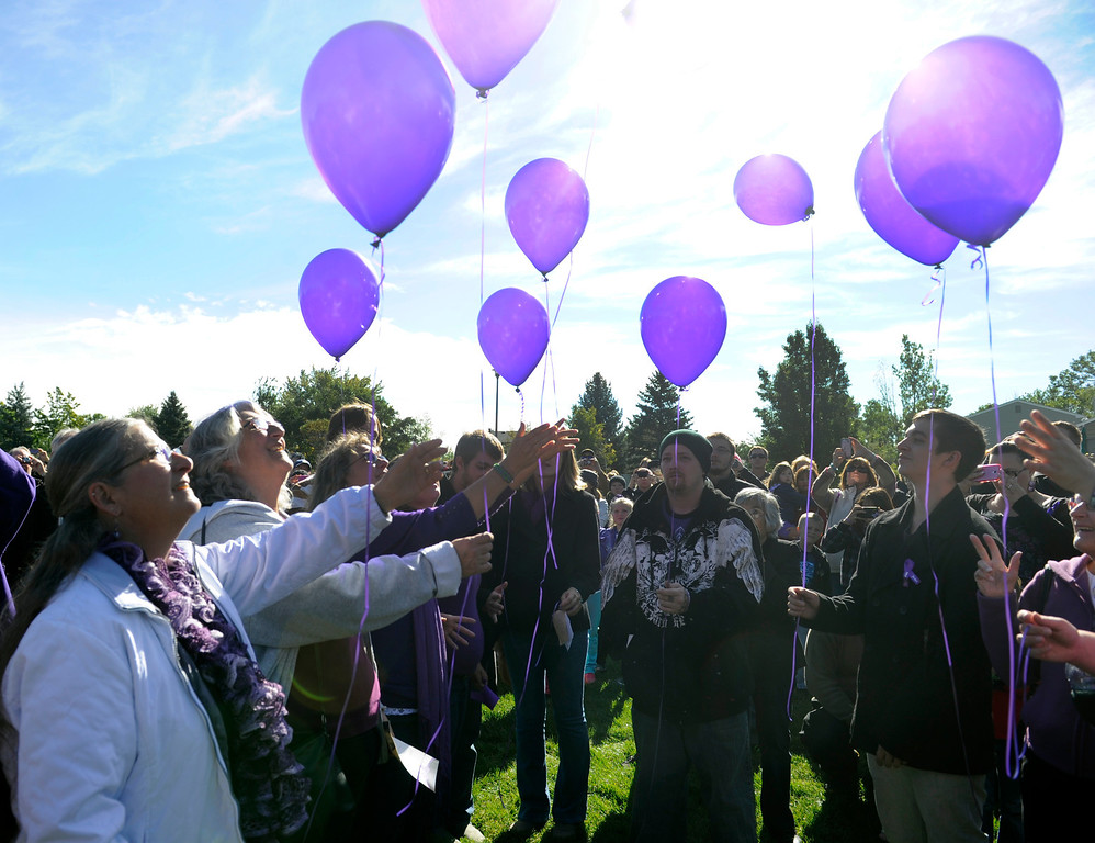 . WESTMINSTER, CO - Oct. 5: At the conclusion of the ceremony, Jessica\'s family releases 10 balloons, one for each year of Jessica\'s life. A year to the day since Jessica Ridgeway went missing, a dedication ceremony takes place in her memory at the Jessica Ridgeway Memorial Park. Jessica\'s family and hundreds of others gather at the newly renovated park (much of the playground equipment made in Jessica\'s favorite color purple) that came together through the dedication of volunteers throughout the community. (Photo By Kathryn Scott Osler/The Denver Post)