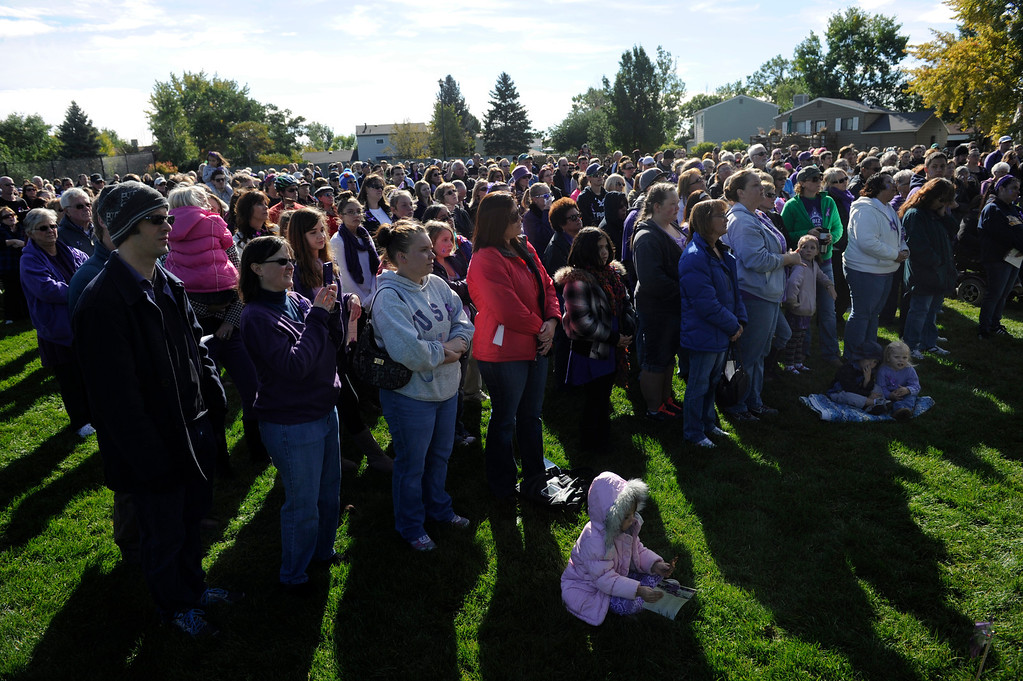 . WESTMINSTER, CO - Oct. 5: A year to the day since Jessica Ridgeway went missing, a dedication ceremony takes place in her memory at the Jessica Ridgeway Memorial Park. Jessica\'s family and hundreds of others gather at the newly renovated park (much of the playground equipment made in Jessica\'s favorite color purple) that came together through the dedication of volunteers throughout the community. (Photo By Kathryn Scott Osler/The Denver Post)