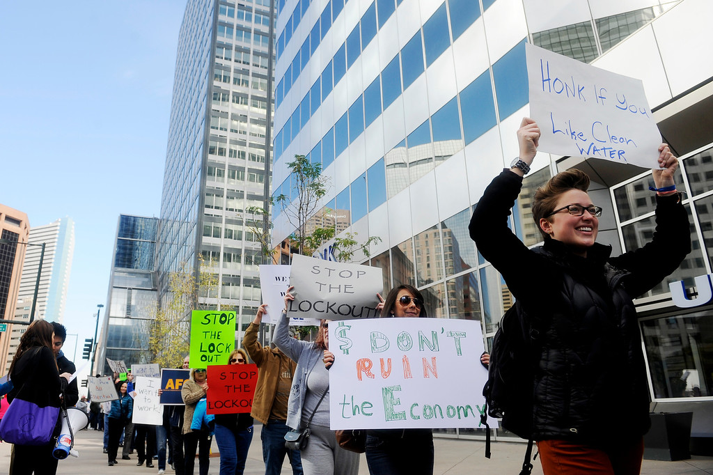 . DENVER, CO: Oct. 16, 2013  Federal workers, community groups and voters demonstrated in front of the shutdown Housing and Urban Development offices in downtown Denver in protest of the government shutdown on Oct. 16, 2013.   (Photo By Erin Hull/The Denver Post)