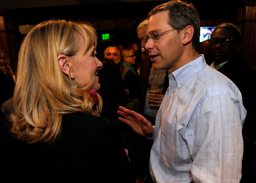 . DENVER, CO - NOV. 5: Denver Public School Superintendent Tom Boasberg, right, congratulates newly elected board member Barbara O\'Brien. Denver Public School Board candidates supporting Superintendent Tom Boasberg\'s reforms host their election night party at the Irish Snug. (Photo By Kathryn Scott Osler/The Denver Post)