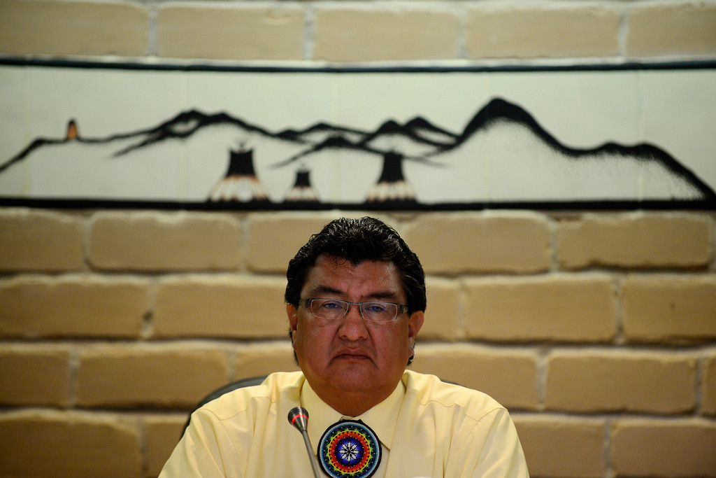 . Tribal chairman Manuel Heart oversees the first council meeting of his second term as chairman. Heart has served two non-consecutive terms as the chairman and hopes that his past experience will help lead his people in a new direction fueled by positive change and union of tradition and youth. (Photo by AAron Ontiveroz/The Denver Post)