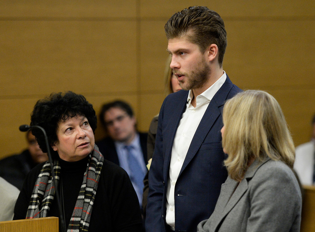 . Semyon Varlamov, starting goaltender for the Colorado Avalanche, appears in court in Denver, December 02, 2013. Varlamov was in court for an advisement hearing related to a misdemeanor assault charge after his girlfriend said he attacked her. (Photo by RJ Sangosti/The Denver Post)