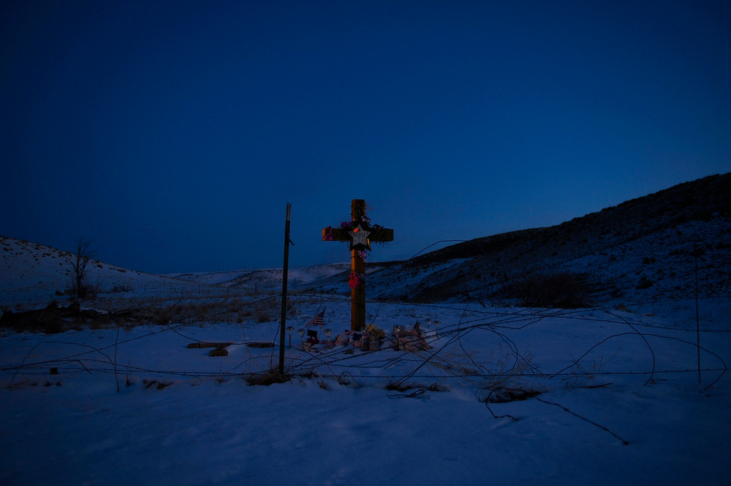 ". ARVADA, CO. - MARCH 13: Snow covers the ground  at a memorial where the body of 10-year-old Jessica Ridgeway was found in west Arvada, March, 13, 2013. Attorneys for Austin Sigg successfully argued that they need more time to go through ""massive\"" evidence compiled during the investigation of last fall\'s kidnapping and murder of 10-year-old Jessica Ridgeway. (Photo By RJ Sangosti/The Denver Post)"