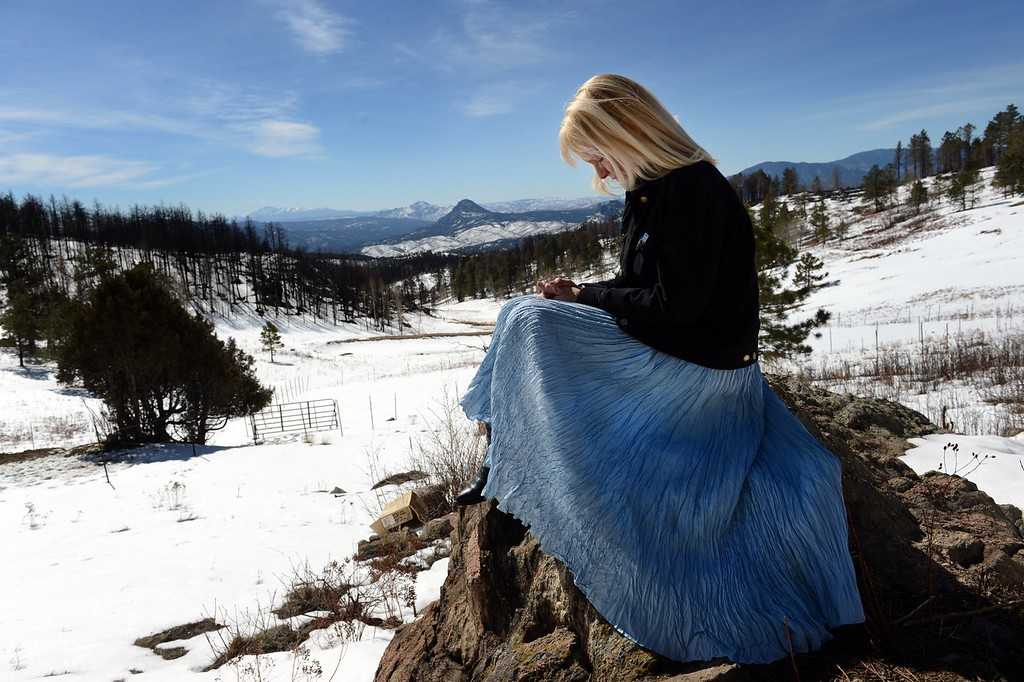 . JEFFERSON COUNTY, CO. - MARCH 14: Beth Semptimphelter poses for a portrait overlooking her property that was destroyed in the Lower North Fork fire last year, in Unincorporated Jefferson County, CO March 14, 2013. The wildfire killed three people and destroyed 27 homes. (Photo By Craig F. Walker/The Denver Post)