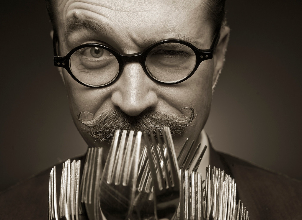 . DENVER,CO. - MARCH 5:   Mentalist Professor Phelyx on Tuesday, March 5,  2013 with his forks. (Photo By Cyrus McCrimmon/The Denver Post)