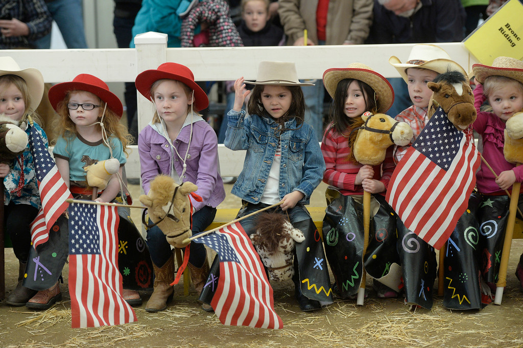 . DENVER, CO. - JANUARY 11:  Cowgirls and cowboys line up for the Stick Horse Rodeo on the opening day of the National Western Stock Show Saturday, January 10, 2014. (Photo By Andy Cross / The Denver Post)