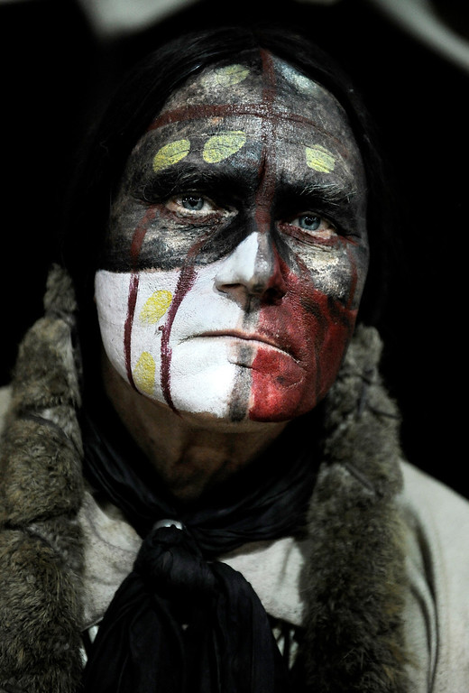 """. Kevin Browning, or \""""Pui Tamobi\"""" of the Comanche tribe poses for a portrait during the Colorado Indian Market at the Denver Mart in Denver, Colo. Photo by Jamie Cotten, Special to The Denver Post"""