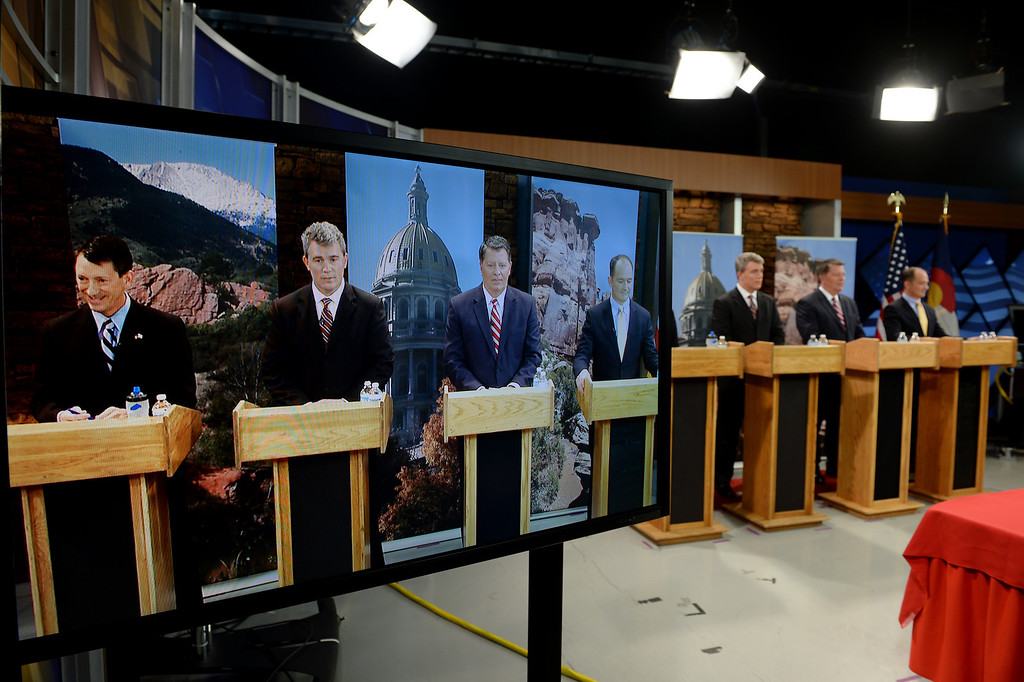 . Gubernatorial candidates answer questions from  co-moderators Eli Stokols and Pula Davis, not pictured during the  gubernatorial debate at KDVR Fox 31 in Denver, Co on March 2,  2014.  They are from left to right:  State senator Greg Brophy, Secretary of State Scott Gessler, Adams County Businessman Steve House, and former state senator Mike Kopp. The Colorado gubernatorial candidates squared off for a debate at the KDVR Fox31 television station studios that was co-moderated by KDVR political reporter Eli Stokols and Colorado Springs Gazette Telegraph reporter Pula Davis in Denver,  Co on March 2, 2014. The four out of the seven candidates that participated were Colorado Secretary of State Scott Gessler, private businessman Steve House, Senator Greg Brophy, and former state senator Mike Kopp.  (Photo By Helen H. Richardson/ The Denver Post)