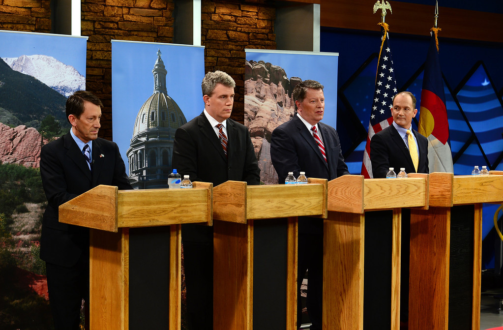 . Gubernatorial candidates answer questions from  co-moderators Eli Stokols and Pula Davis, not pictured, during the  gubernatorial debate at KDVR Fox 31 in Denver, Co on March 2,  2014.  They are from left to right:  State senator Greg Brophy, Secretary of State Scott Gessler, Adams County Businessman Steve House, and former state senator Mike Kopp. The Colorado gubernatorial candidates squared off for a debate at the KDVR Fox31 television station studios that was co-moderated by KDVR political reporter Eli Stokols and Colorado Springs Gazette Telegraph reporter Pula Davis in Denver,  Co on March 2, 2014. The four out of the seven candidates that participated were Colorado Secretary of State Scott Gessler, private businessman Steve House, Senator Greg Brophy, and former state senator Mike Kopp.  (Photo By Helen H. Richardson/ The Denver Post)
