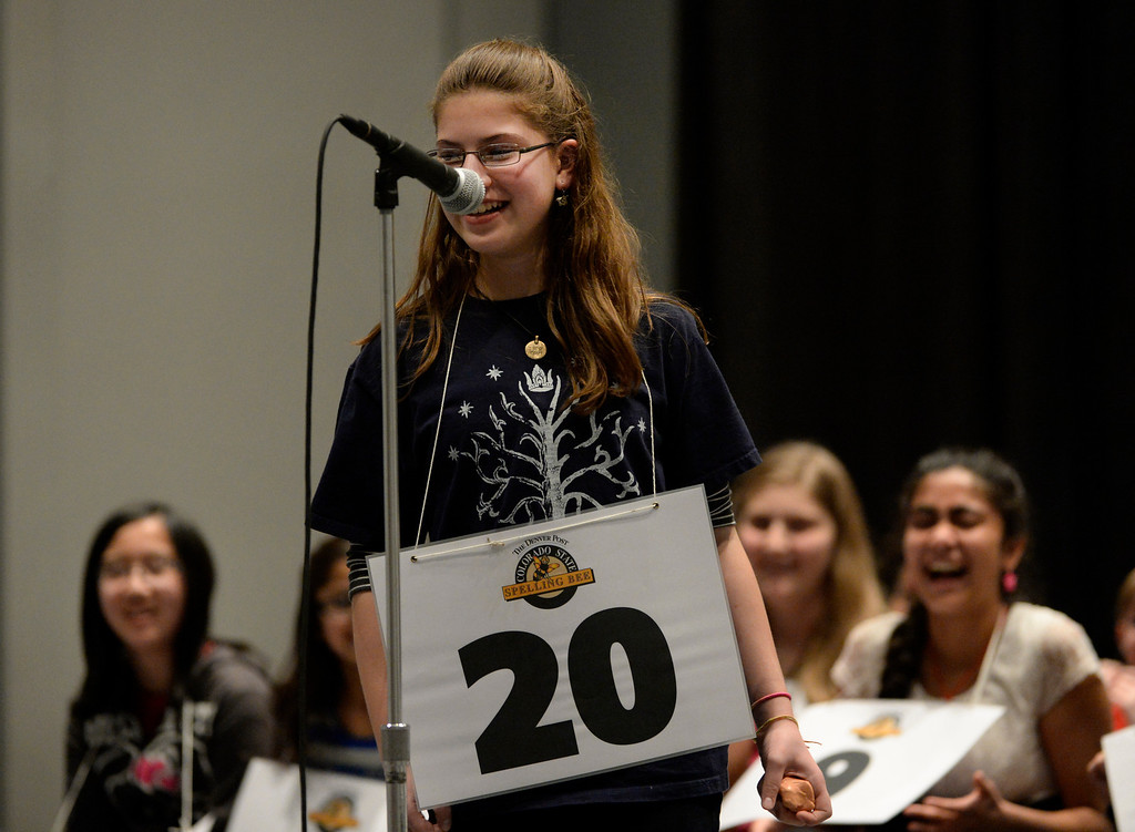 . DENVER, CO. - MARCH 08: Molly Berenbaum, an 8th grader at Morey Middle School, has a laugh with the judges when she was given the word, �definition� in an earlier round of the 74TH Annual Colorado State Spelling Bee Saturday, March 08, 2014 at the Colorado Convention Center. (Photo By Andy Cross / The Denver Post)