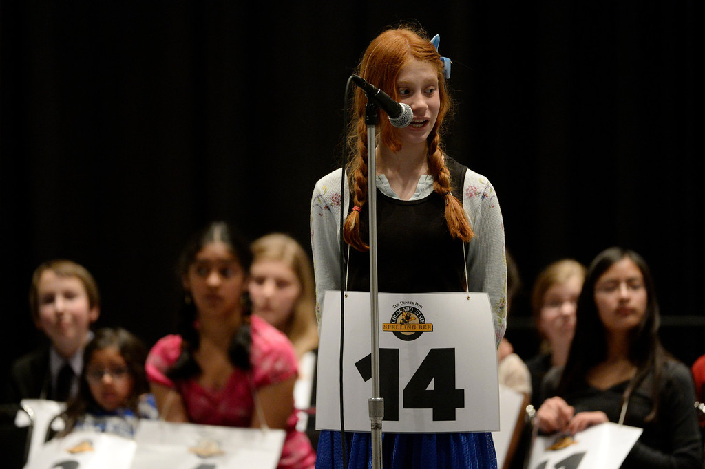 . DENVER, CO. - MARCH 08: Hannah Pederson, , a 7th grader at Hamilton Middle School, asks for the origin of a word during the 74TH Annual Colorado State Spelling Bee Saturday, March 08, 2014 at the Colorado Convention Center. (Photo By Andy Cross / The Denver Post)