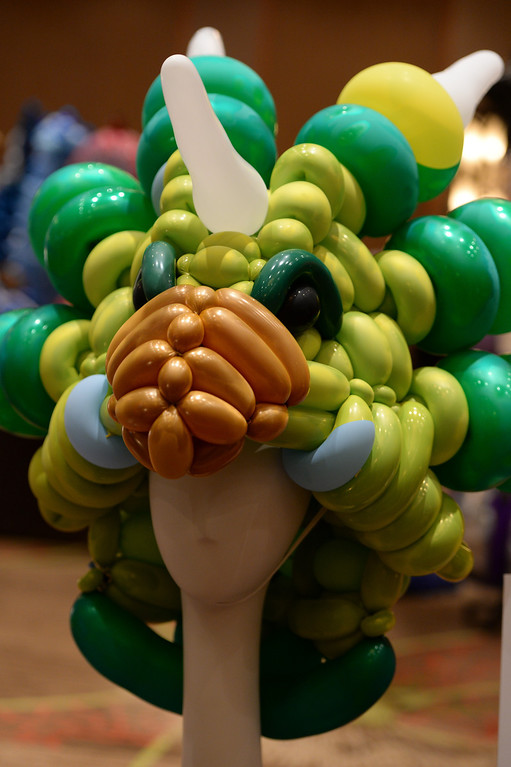 . A whimsical hat made up entirely of balloons was one of dozens of creative designs at The international World Balloon Convention Photo By Helen H. Richardson/ The Denver Post)