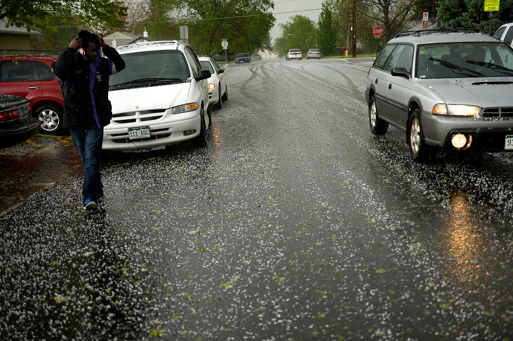 . AURORA, CO. - May 21: The roads are covered  during a tornado warning at Kenton Elementary May 21, 2014 Aurora, CO (Photo By Joe Amon/The Denver Post)