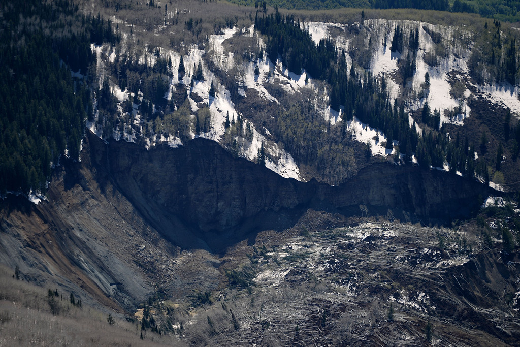 . An Aerial view of the Mesa County Mudslide from a plane flown by John Stanley The Mesa County Mudslide, which occurred on Sunday evening and is being measured in miles as opposed to merely feet, Monday, May 26, 2014. (Photo by AAron Ontiveroz/The Denver Post)