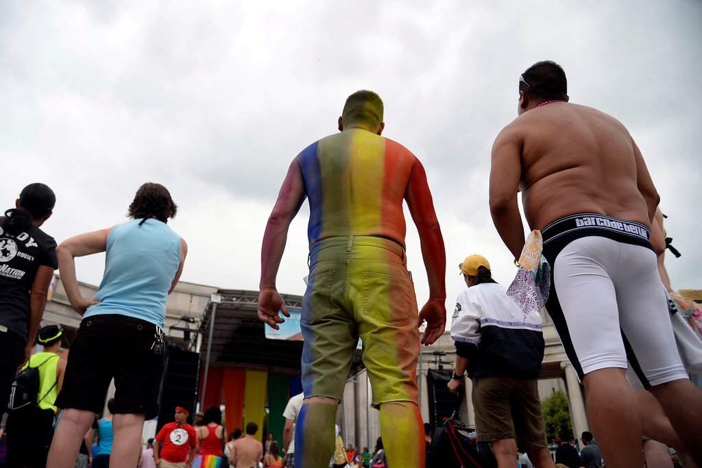 . DENVER, CO - JUNE 22: Jason Schilz rocks full body paint during PrideFest 2014 in downtown Denver. Thousands of people gathered in the city to enjoy a bevy of events including dancing, food and music on Sunday, June 22, 2014. (Photo by AAron Ontiveroz/The Denver Post)