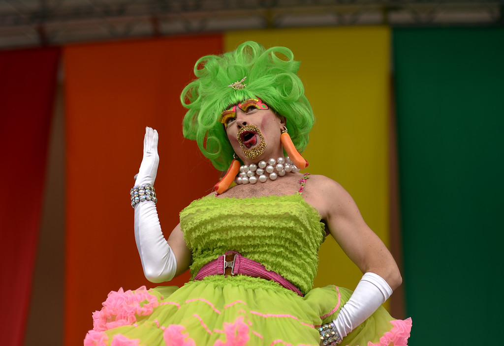 . DENVER JUNE 21: Drag queen Nuclia Waste is performing for the 2014 Denver Pridefest at Civic Center Park in Denver, Colorado June 21, 2014. The Festival kicks off with many events. (Photo by Hyoung Chang/The Denver Post)