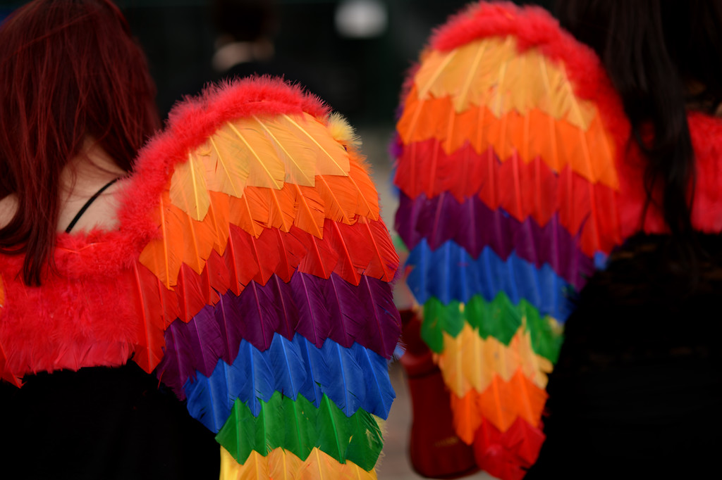 . DENVER JUNE 21: People celebrate the 2014 Denver Pridefest with fairy wings at Civic Center Park in Denver, Colorado June 21, 2014. (Photo by Hyoung Chang/The Denver Post)