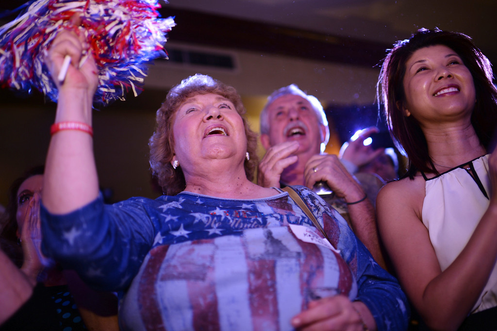 . Karen Fisher and Bob Beauprez supporters celebrates Beauprez\'s winning of  the Colorado GOP primary race for governor at Denver Athletic Club with his family and  supporters. Denver, Colorado. June 24. 2014. (Photo by Hyoung Chang/The Denver Post)