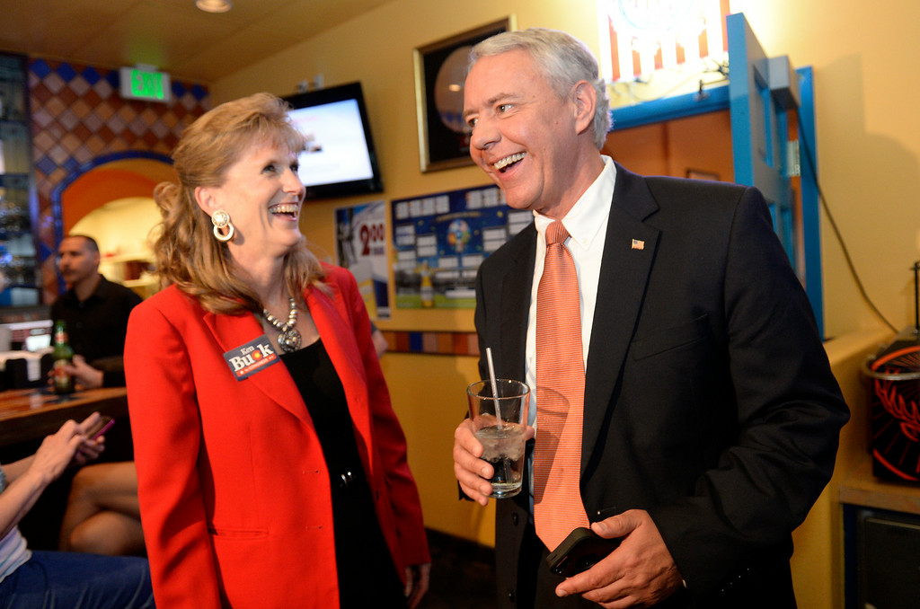 . With early results leaning his way,  Ken Buck GOP candidate for the 4th Congressional  District seat was at his party at Cazadores Mexican Grill and Cantina in Greeley on Tuesday, June 24, 2014. Buck begins to celebrate with his wife Perry Buck, left.   (Denver Post Photo by Cyrus McCrimmon)