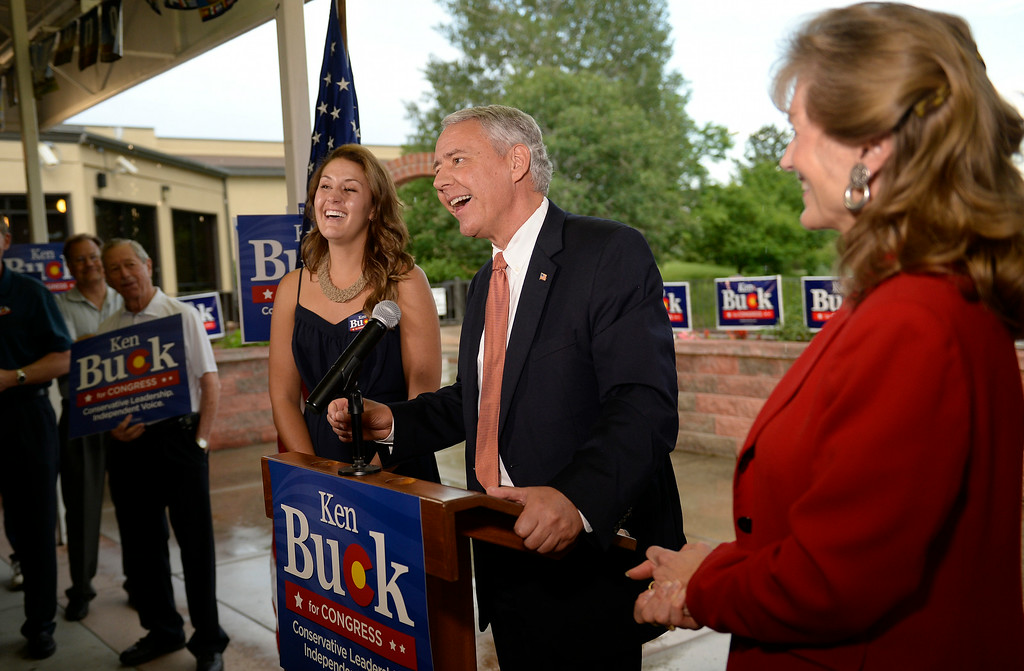 . Ken Buck won the  GOP  primary for the 4th Congressional  District seat. He was with his daughter Kaitlin, left and wife Perry, right,  at his party at Cazadores Mexican Grill and Cantina in Greeley on Tuesday, June 24, 2014.  (Denver Post Photo by Cyrus McCrimmon)