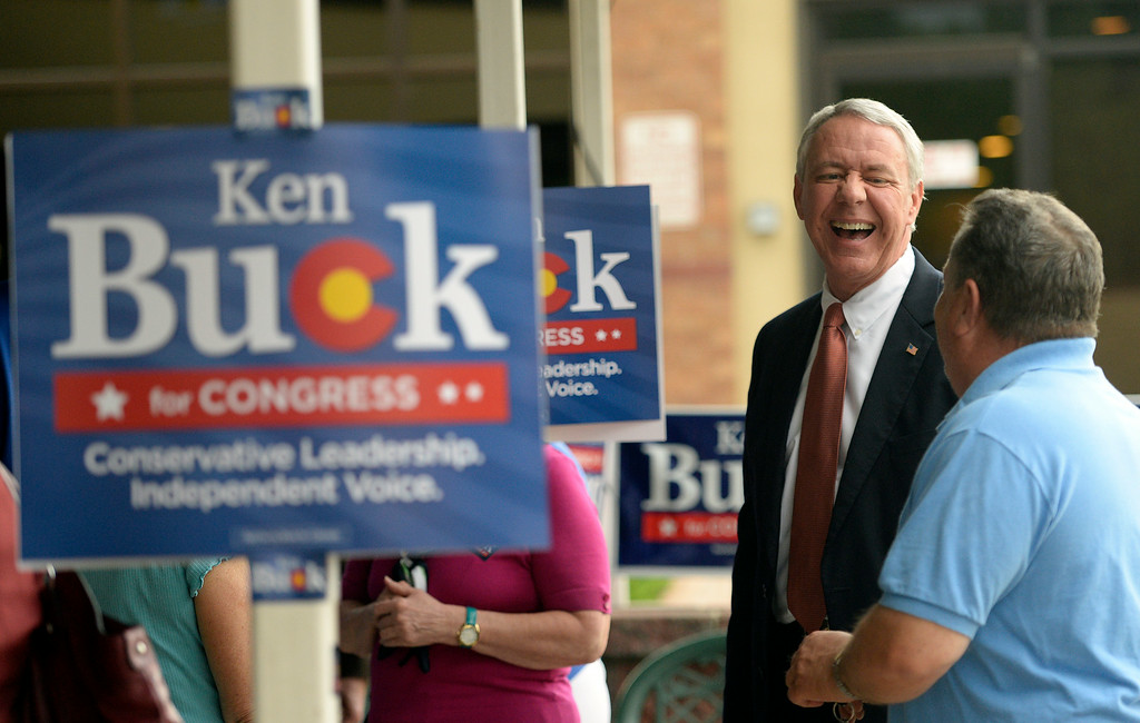 . With early results leaning his way,  Ken Buck GOP candidate for the 4th Congressional  District seat was talking with supporters at his party at Cazadores Mexican Grill and Cantina in Greeley on Tuesday, June 24, 2014.  (Denver Post Photo by Cyrus McCrimmon)