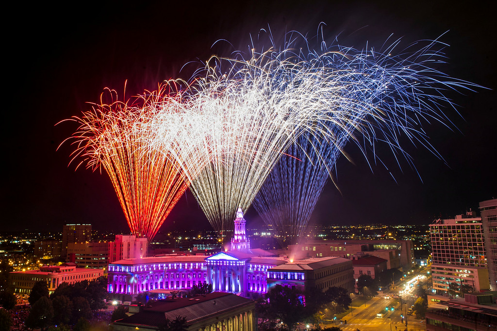 . DENVER, CO - JULY 03:  Thousands of people pack Civic Center Park for the annual Independence Day Fireworks on Thursday, July 03, 2014 in Denver, CO.  (Photo by Kent Nishimura/The Denver Post)