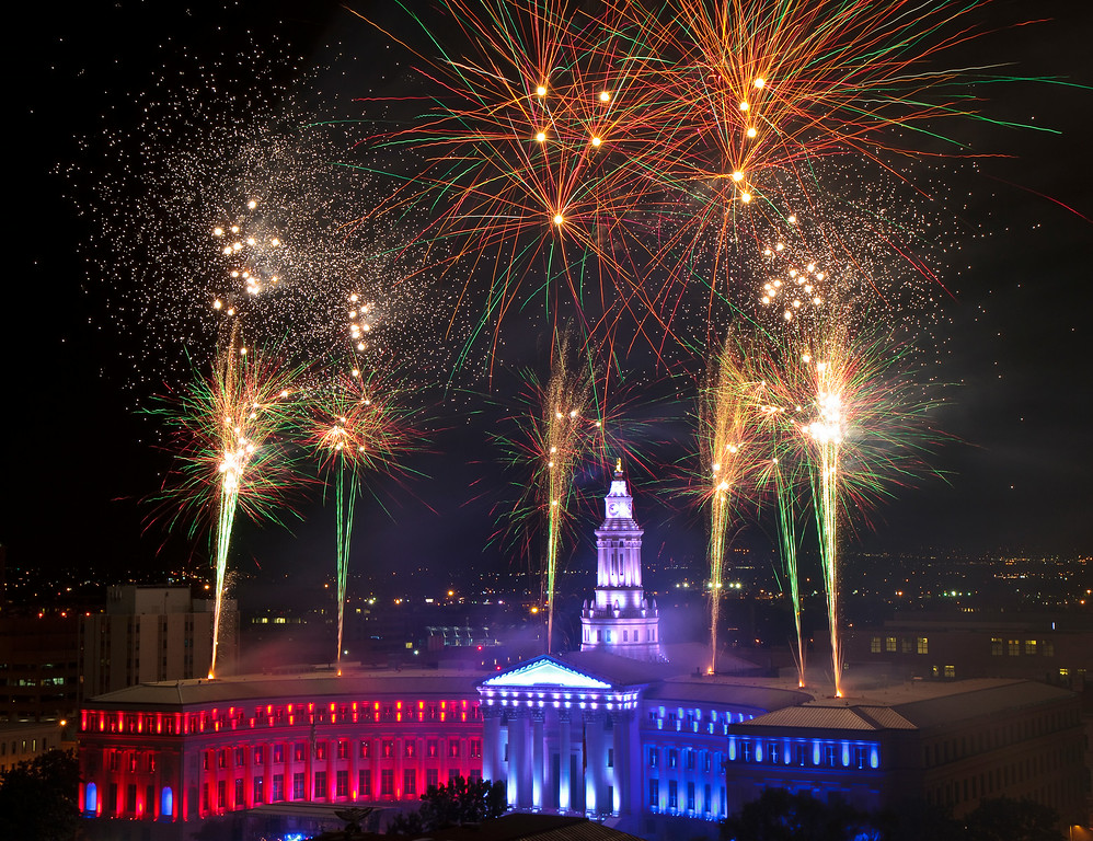 . DENVER, CO - JULY 3: Fireworks light up the sky over Civic Center Park in Denver on Thursday, July 3, 2014.(Photo by Werner R. Slocum/The Denver Post)