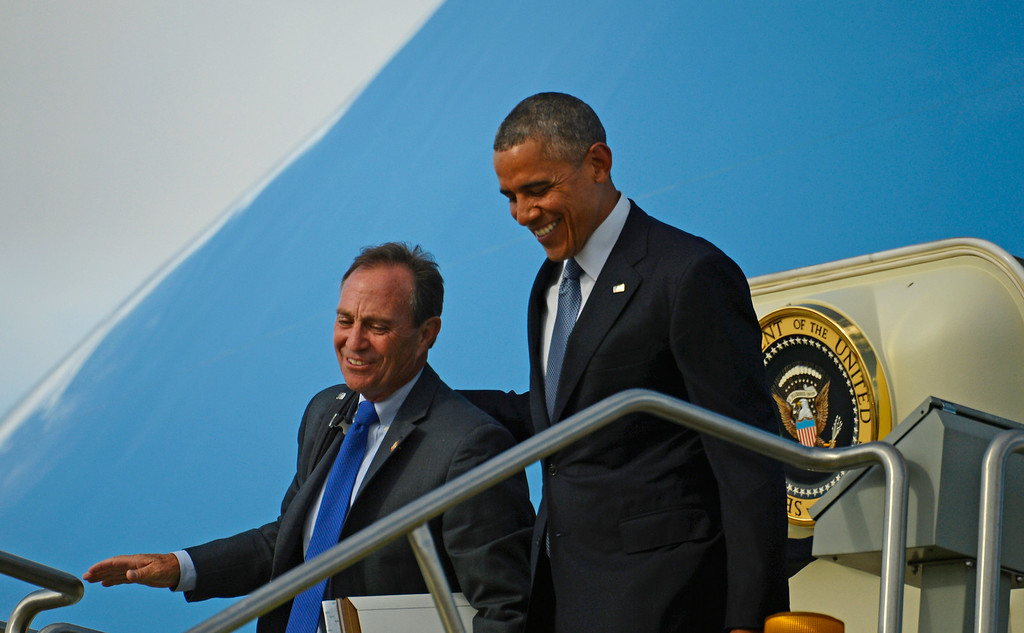. DENVER, CO - JULY 08: President Barack Obama with Congressman Ed Perlmutter arrive in Colorado at Denver International Airport, July 08, 2014. President Obama is in Colorado to speak about the economy and raise money for Senator Mark Udall\'s re-election campaign. (Photo by RJ Sangosti/The Denver Post)