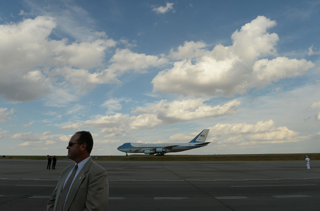 . DENVER, CO - JULY 08: President Barack Obama arrives in Air Force One at Denver International Airport, July 08, 2014. President Obama is in Colorado to speak about the economy and raise money for Senator Mark Udall\'s re-election campaign. (Photo by RJ Sangosti/The Denver Post)