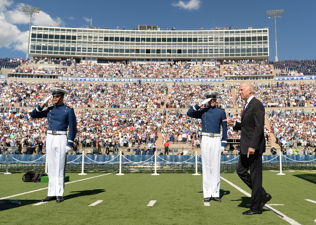 . Vice President of the United States Joe Biden walks out to speak to the class of 2014 cadets during the commencement ceremony at Air Force Academy in Colorado Spring, May 28, 2014. (Photo by RJ Sangosti/The Denver Post)