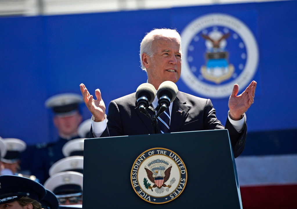 . Vice President of the United States Joe Biden speaks to the class of 2014 cadets during the commencement ceremony at Air Force Academy in Colorado Spring, May 28, 2014. (Photo by RJ Sangosti/The Denver Post)