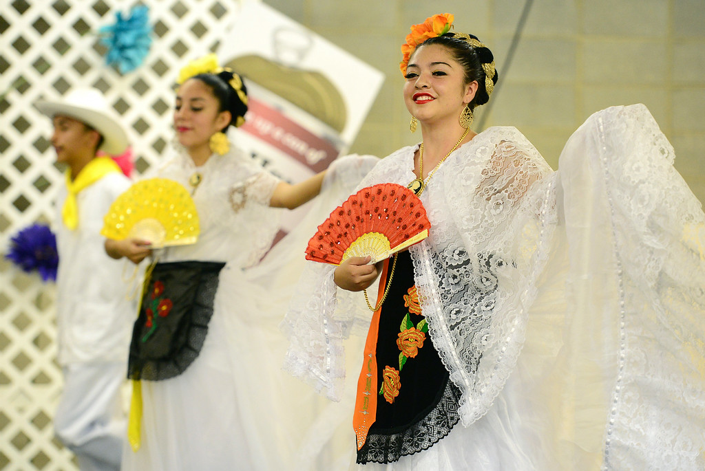 . Dancers with Folklorico Dance perform at the Denver County Fair at the National Western Complex in Denver, CO on August 3rd, 2014. This was the last day of the fair which included dancing, singing, dog agility courses, freak shows, and pie eating contests. (Photo by Helen H. Richardson/The Denver Post)