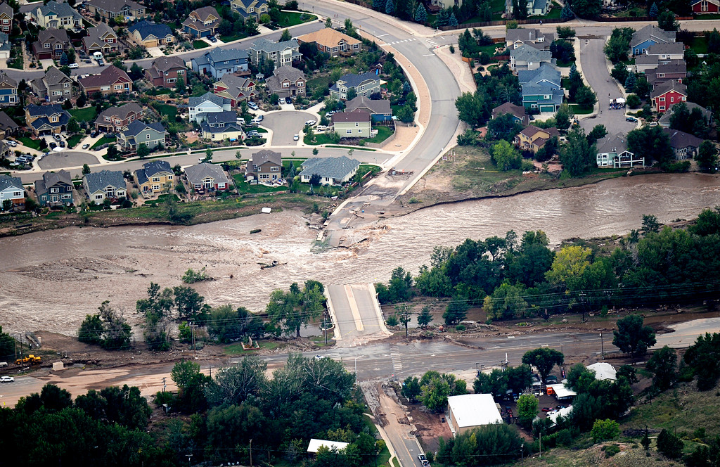 . LYONS, CO - SEPTEMBER 13: An aerial photograph shows the damage in Lyons from the flood, September 13, 2013. Massive flooding continues to hit Colorado. (Photo By RJ Sangosti/The Denver Post)