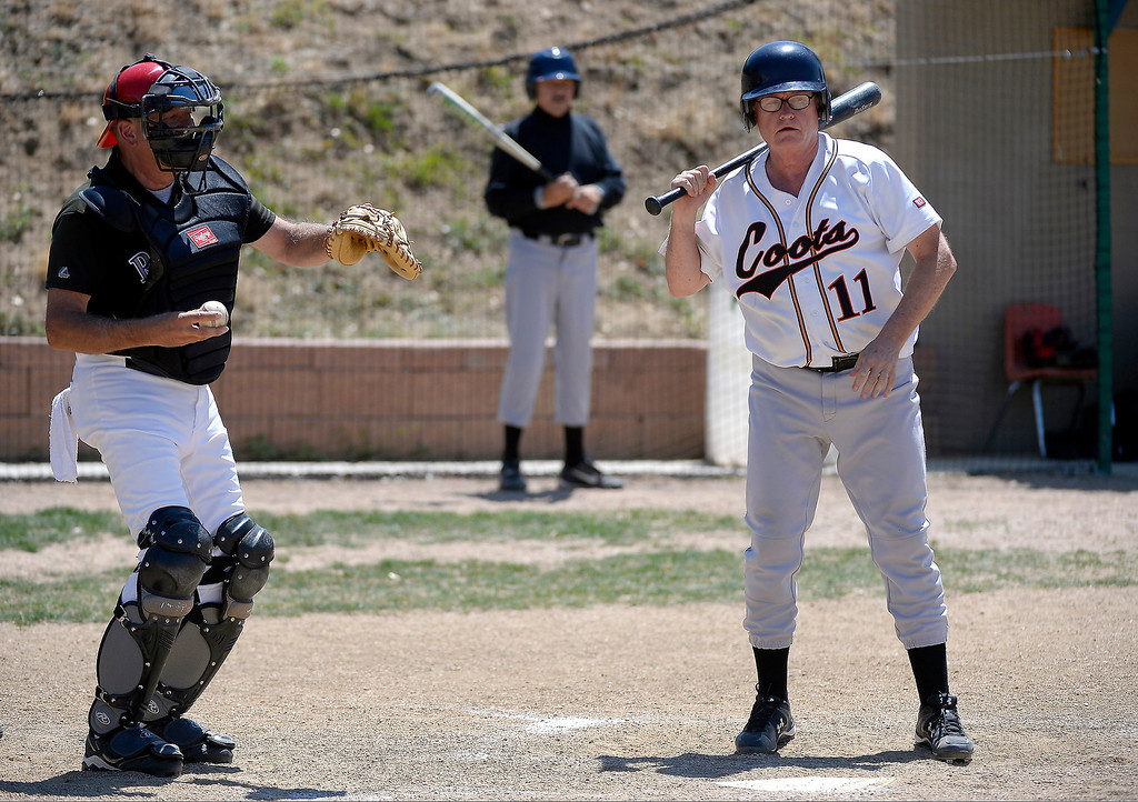 . John Thompson of the Coots team comes up to bat during their game July 18, 2013 at the old Mapleton High School.  (Photo By John Leyba/The Denver Post)