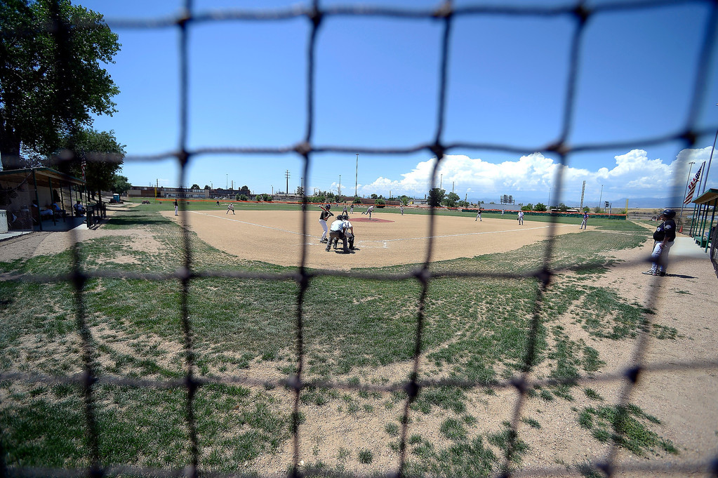 . Baseball players over the age of 50 play ball at the old Mapleton High School onJuly 18, 2013. (Photo By John Leyba/The Denver Post)