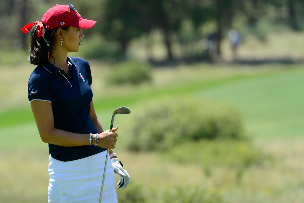 . Michelle Wie watches a shot during a practice round for the Solheim Cup. The United States has never lost on a home course. (Photo by AAron Ontiveroz/The Denver Post)