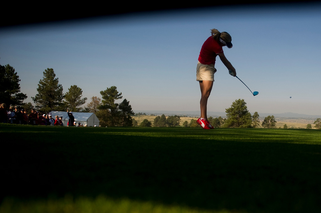 . American Lexi Thopson drives the ball on the tenth hole during a practice round for the Solheim Cup at Colorado Golf Club on August 14, 2013. (Photo By Grant Hindsley/The Denver Post)
