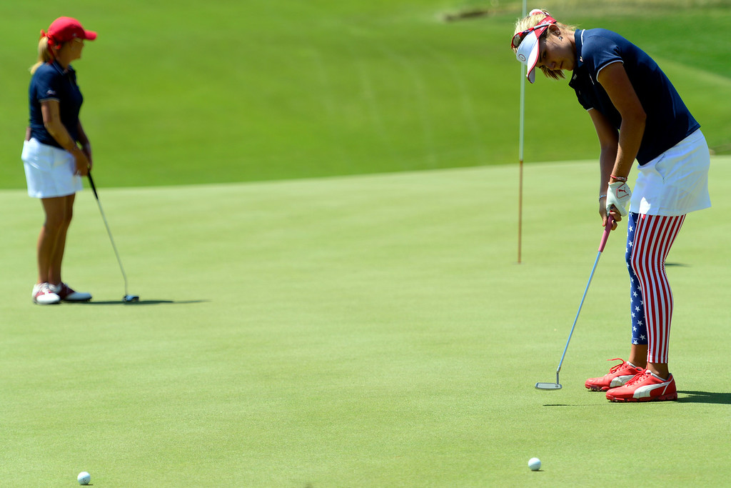 . Lexi Thompson putts during a practice round for the Solheim Cup. The United States has never lost on a home course. (Photo by AAron Ontiveroz/The Denver Post)