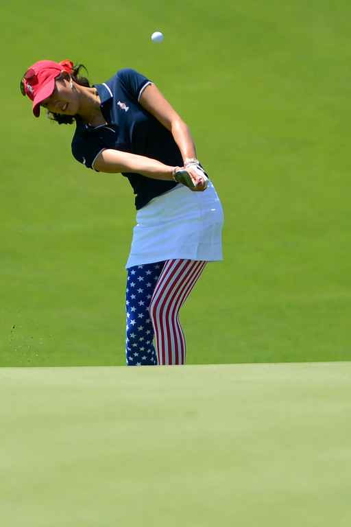 . Michelle Wie Hits during a practice round for the Solheim Cup. The United States has never lost on a home course. (Photo by AAron Ontiveroz/The Denver Post)