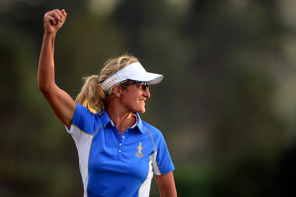. PARKER, CO - AUGUST 18: Giulia Sergas celebrates after putting on the 18th during the final round of the Solheim Cup. WIth their win, the Europeans captured their first cup in the United States. (Photo by AAron Ontiveroz/The Denver Post)