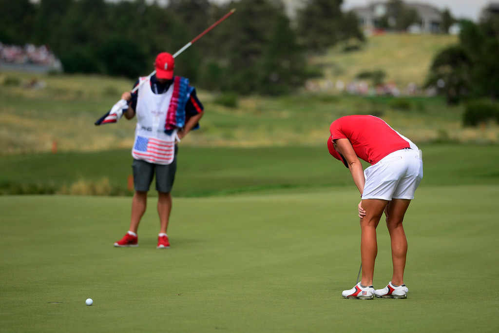 . Stacy Lewis reacts to missing a putt against Anna Nordqvist on the 16th during the final round for the Solheim Cup. A win marks the first time the Europeans have won the competition in the United States. (Photo by AAron Ontiveroz/The Denver Post)