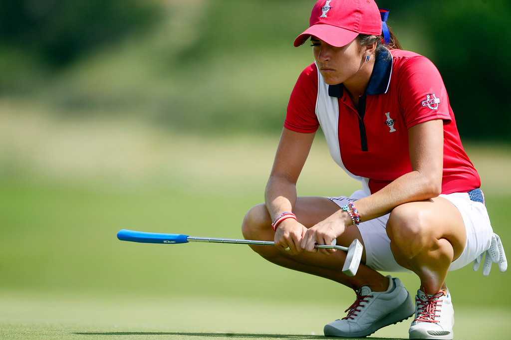 . Gerina Piller lines up a putt while playing against Catriona Matthew during the final round of the Solheim Cup. A win marks the first time the Europeans have won the competition in the United States. (Photo by AAron Ontiveroz/The Denver Post)
