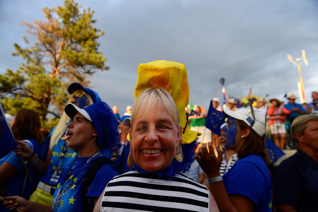 . PARKER, CO - AUGUST 18: European fans celebrate during the final round of the Solheim Cup. WIth their win, the Europeans captured their first cup in the United States. (Photo by AAron Ontiveroz/The Denver Post)