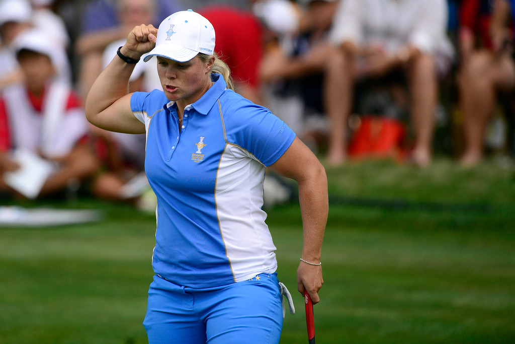 . Caroline Hedwall reacts to making a putt against Michelle Wie during the final round of the Solheim Cup. A win marks the first time the Europeans have won the competition in the United States. (Photo by AAron Ontiveroz/The Denver Post)