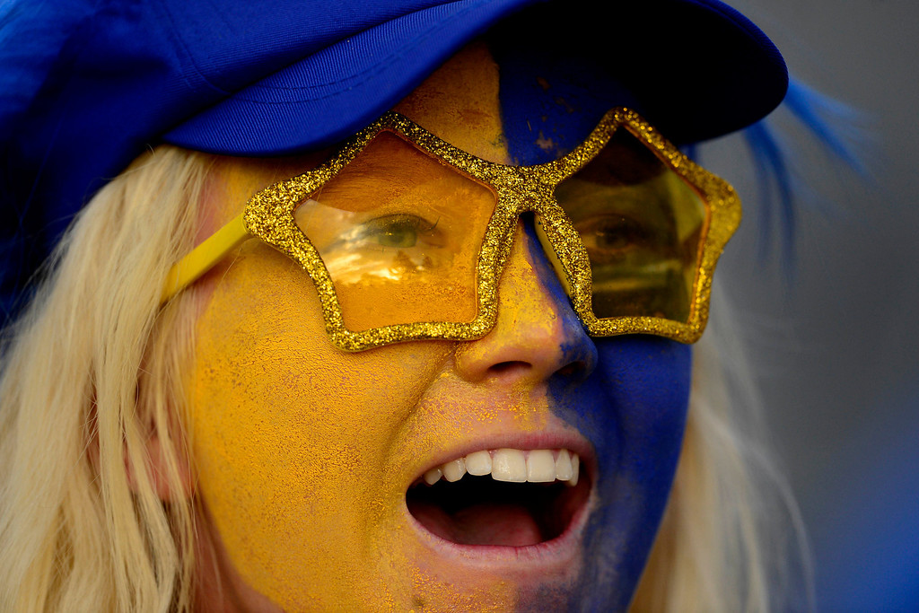 . PARKER, CO - AUGUST 18: European fans cheer their team on during the final round of the Solheim Cup. WIth their win, the Europeans captured their first cup in the United States. (Photo by AAron Ontiveroz/The Denver Post)