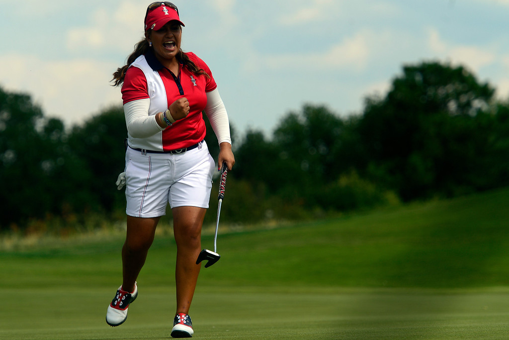. Lizette Salas reacts to making a putt against Suzann Petterson during the final round for the Solheim Cup. A win marks the first time the Europeans have won the competition in the United States. (Photo by AAron Ontiveroz/The Denver Post)