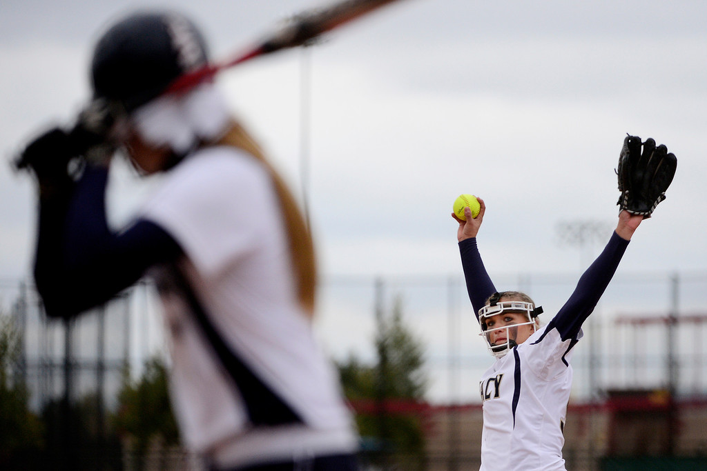 . Legacy\'s Haley Smith strikes out Legend\'s Jesse Smith during the fifth inning of the Lightning\'s 6-4 state title win at the Aurora Sports Park on Sunday, October 20, 2013. The win was Legacy\'s sixth title in seven years. (Photo by AAron Ontiveroz/The Denver Post)